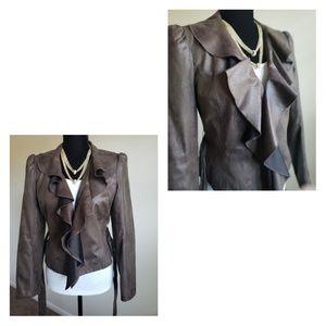 Worthington Faux Leather Ruffle Blazer
